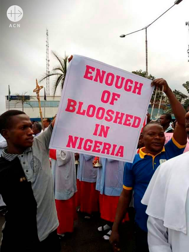 Christians demonstrating peaceful against the bloodshed in Nigeria