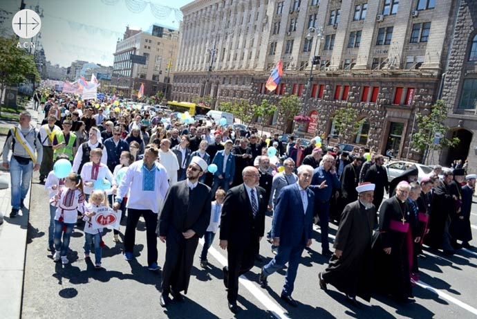 Catholic diocese of Kiev organizes a March of life through the capital. There also Muslims, Jews and other religions participating, June 2017.