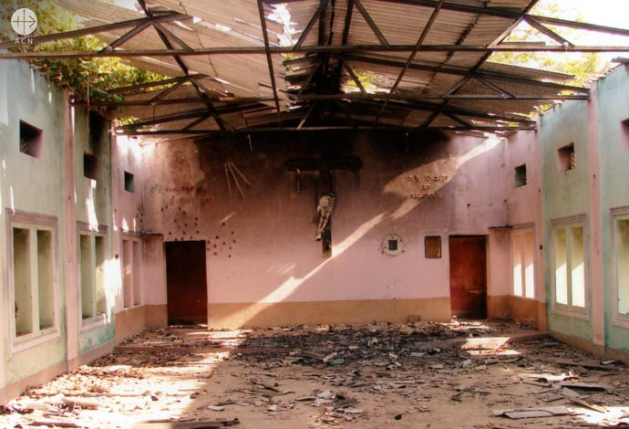 church of St Teresa of the Child Jesus parish in Muniguda, Orissa: Inside the church building after the violent attack