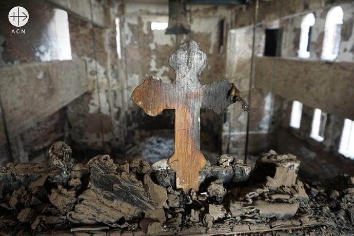 A burnt catechetical cross on the balcony of the Coptic Catholic Cathedral of St George's, Luxor