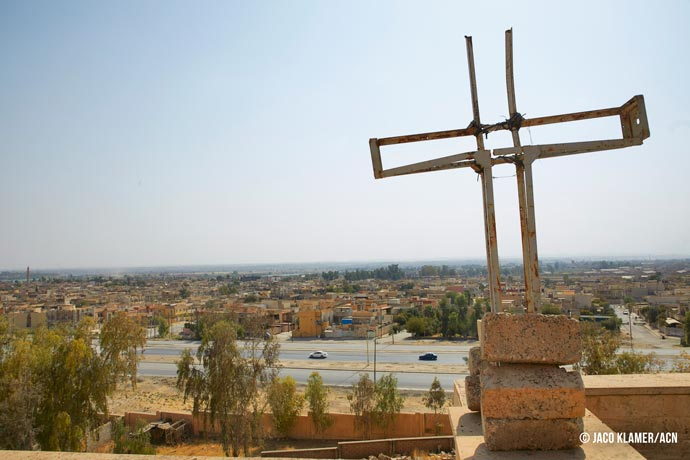 Damaged cross on St. George's Monastery (Mar Gurguis) in Mosul