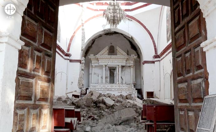 Church destroyed after earthquake in Mexico