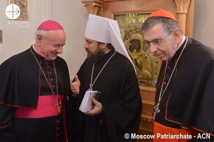 From left to the right: Archbishof Vincenzo Paglia, President of the Pontifical Academy for Life; Metropolitan Hilarion (Alfeev) of Volokolamsk, chairman of the Moscow Patriarchate department for external church relations,; the president of the Pontifical Council for Promoting Christian Unity, Cardinal Kurt Koch.