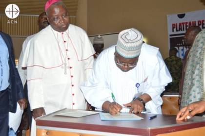 "Archbishop Ignatius Kaigama is witnessing the signing of the document called ""Plateau Peace Commitment in view of the 2019 general elections"". It was signed by the governourship Candidates in Plateau States and witnessed by traditional/religious heads, civil society groups, senior security personnel and various community stakeholders."