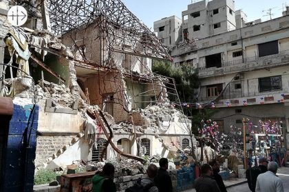 Haiyar Palace, one of the big houses in Homs, destroyed by the bombs.