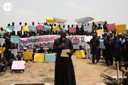 "Peaceful procession ""Stop the Kajuru Massacre now"". People demonstrate against the killing in Southern Kaduna."