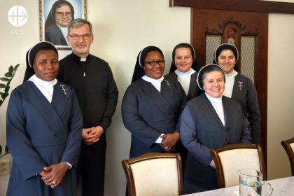 Part of the melting pot of Saratov: Bishop Clemens Pickel with his international team of religious Sisters.