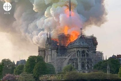 Cathedral Notre Dame in Paris during the fire.