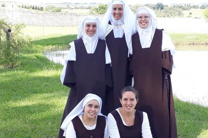 A growing community: three professed Sisters with a novice and a postulant.