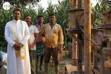 India: a new water well for a boarding school run by Italian sisters in the diocese of Eluru.