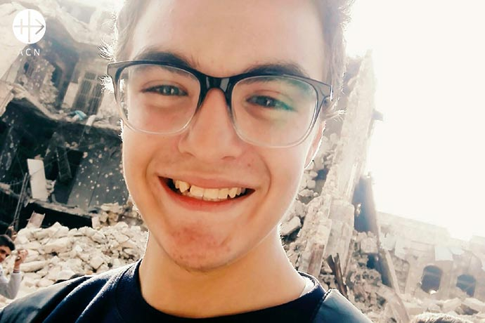 Piter Essa, 17, graduated from High School in Aleppo, Syria.
