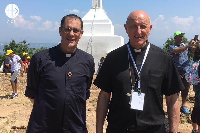 Father Alexis Wiehe with Bishop Dominique Rey (Toulon, France) in Medjugorje, Bosnia-Herzegowina.