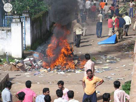 India. Orissa, August 2008 Violence against Christians in the Archdiocese of Cuttack-Bhubaneshwar District Kandhamal.