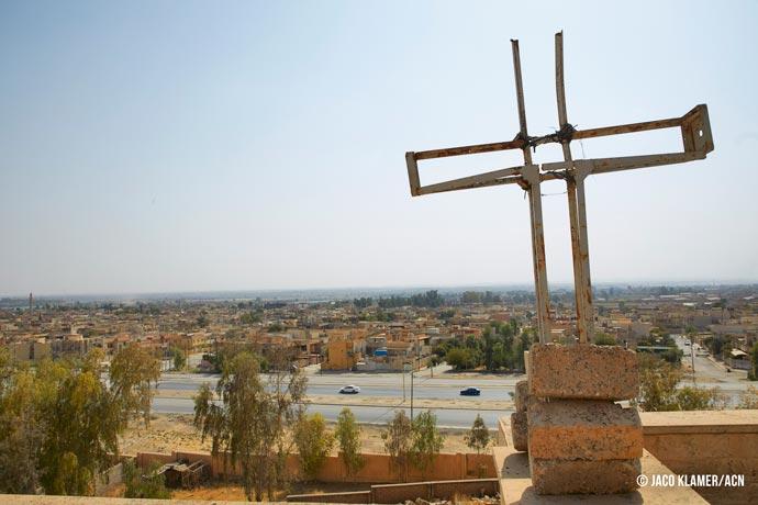 Damaged cross on St. George's Monastery (Mar Gurguis) in Mosul