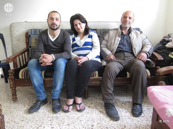 Elias Ghattas with his wife Lina Salloum and their son Thamin Ghattas in Homs.