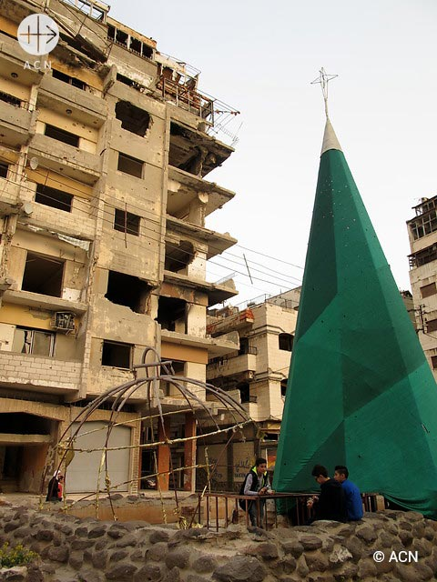 Streets of Homs. Christmas tree in Christian neighbourhood.