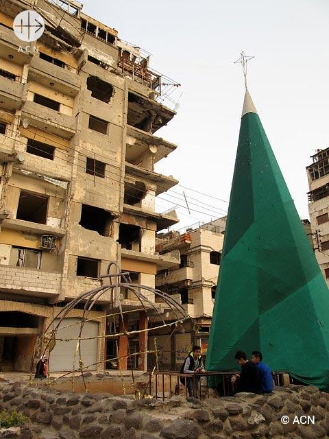 Streets of Homs. Christmas tree in Christian neighbourhood.