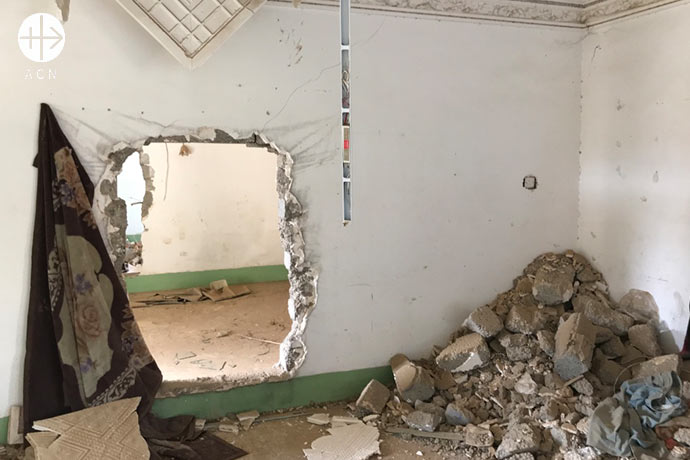 Partially destroyed Virgin Mary Kindergarten, in the Syriac Catholic town of Bashiqa.