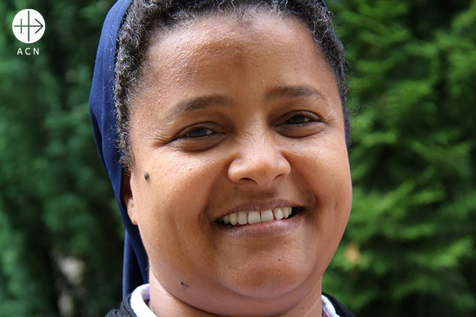 "Sister Tesfay Medhin of the Daughters of Charity of St Vincent de Paul of the Tigray Region, Eparchy of Adigrat, in Ethiopia, during a visit to ""Aid to the Church in Need""."