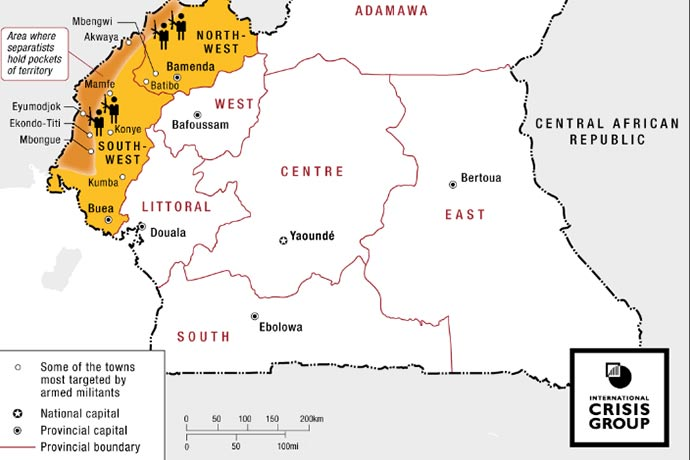 Map of Cameroon's Anglophone Crisis from 2018.