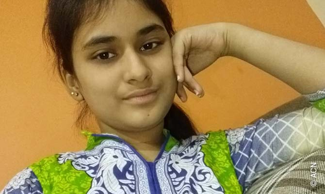 Huma Younus, the 14-year-old Catholic girl abducted on 10 October last year in Karachi, Pakistan.