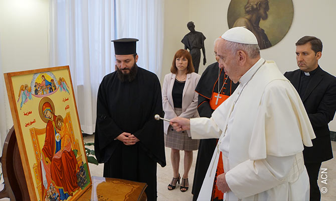 "On 15 September the Pope also blessed an icon with the motif of ""Our Lady of Sorrows, Consoler of Syrians""."