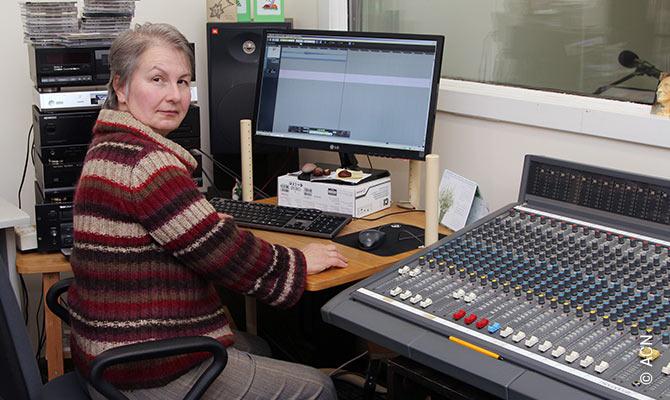 In the Catholic radio studio Mažoji Studija.