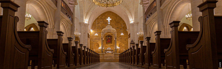 The Cathedral of St. Elijah in Aleppo, destroyed during the Syrian war, rises from the ashes