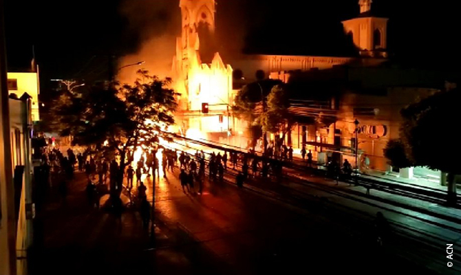 Chile: during the social and political upheavals at the end of 2019 more than 57 Christian churches and places of worship were attacked and burned