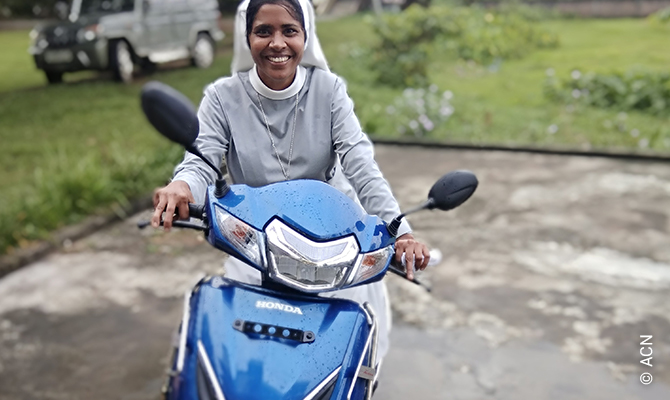 India: a moped for a religious sister working in the remote jungle villages.