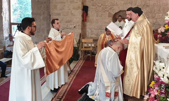 Ordination of deacons Khalil Berkachy and Georges Daoud on April 18, 2020.