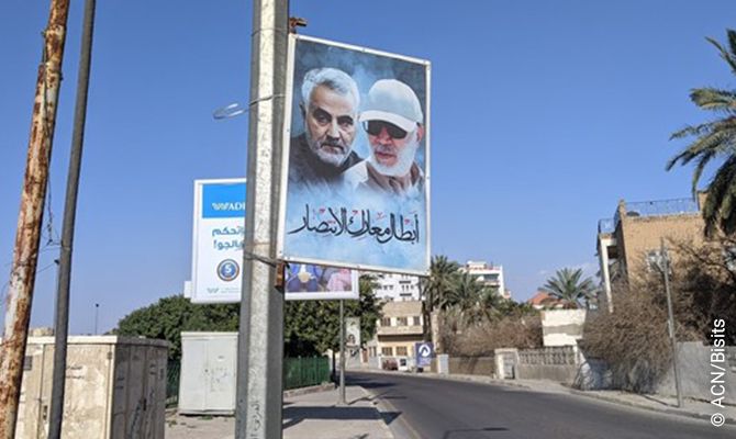Iraq has close ties to Iran. In Baghdad, photos of Soleimani, assassinated by the US just over 12 months ago, line the streets.