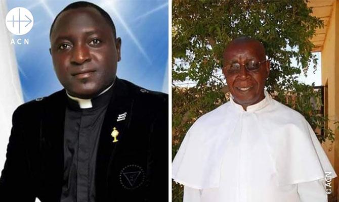 El Padre Alphonsus Bello y el Padre Joseph Keke de la Iglesia Católica de San Vicente Ferrer.