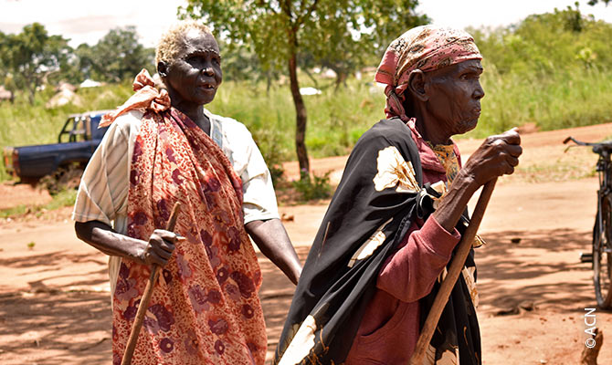 Two old women at the Bidibidi refugee camp.