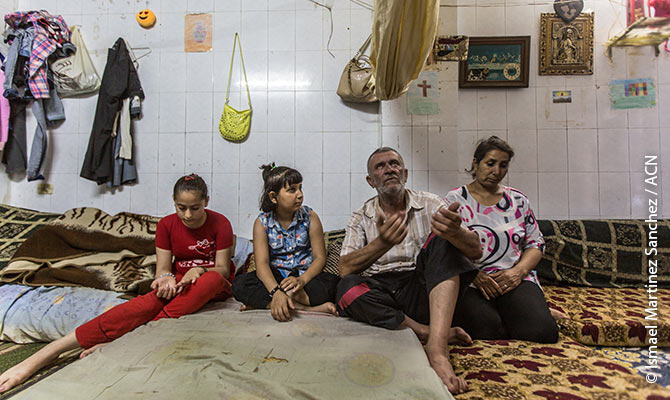 A displaced family from Aleppo, which has been living for nearly three years under difficult conditions in Tartus, a city on the Syrian coast.