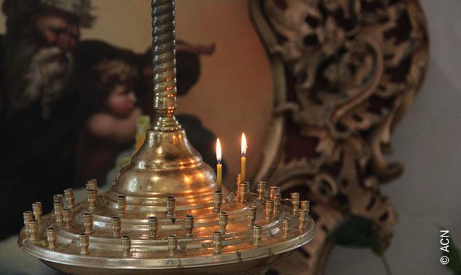 Candles in the Greek-Catholic Church in Kiev.