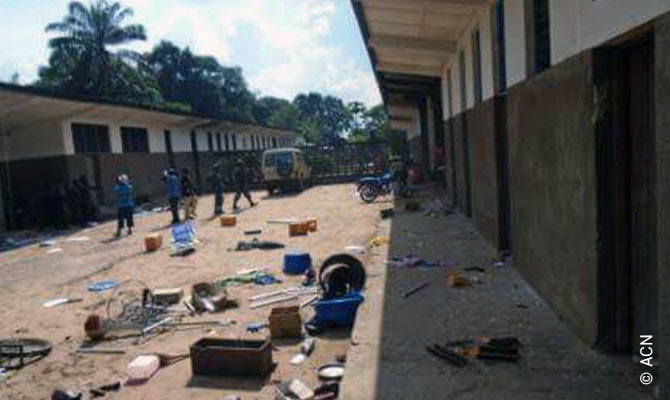 The aftermath of acts of violence against the Church on 19 February 2017 in the seminary of Kananga.