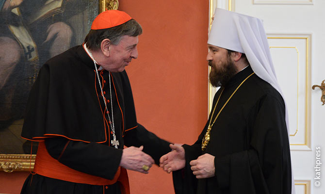 Cardinal Kurt Koch, President of the Pontifical Council for Promoting Christian Unity, and Metropolitan Hilarion, chairman of the Department of External Church Relations of the Moscow Patriarchate, at a meeting in Vienna.
